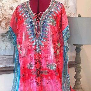 NWT Caftan Kimono Boho Rhinestones Maxi
